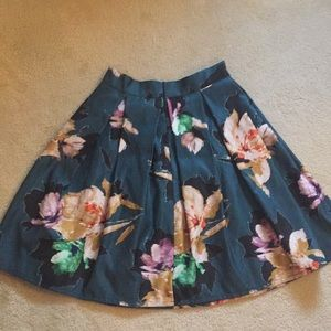 Chicwish Skirts - Satin Blend Pleated  Floral Circle Skirt